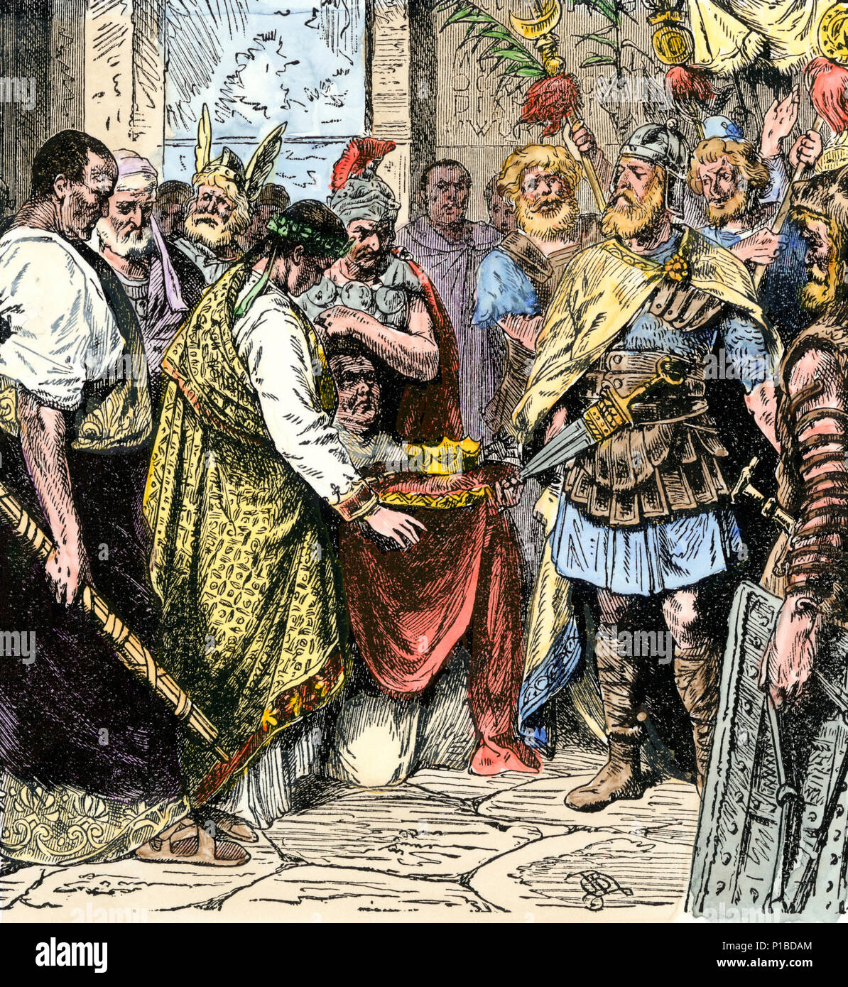 Odoacer compels the abdication of Romulus, the last Roman emperor of the  West, 476 A.D. Hand-colored woodcut.