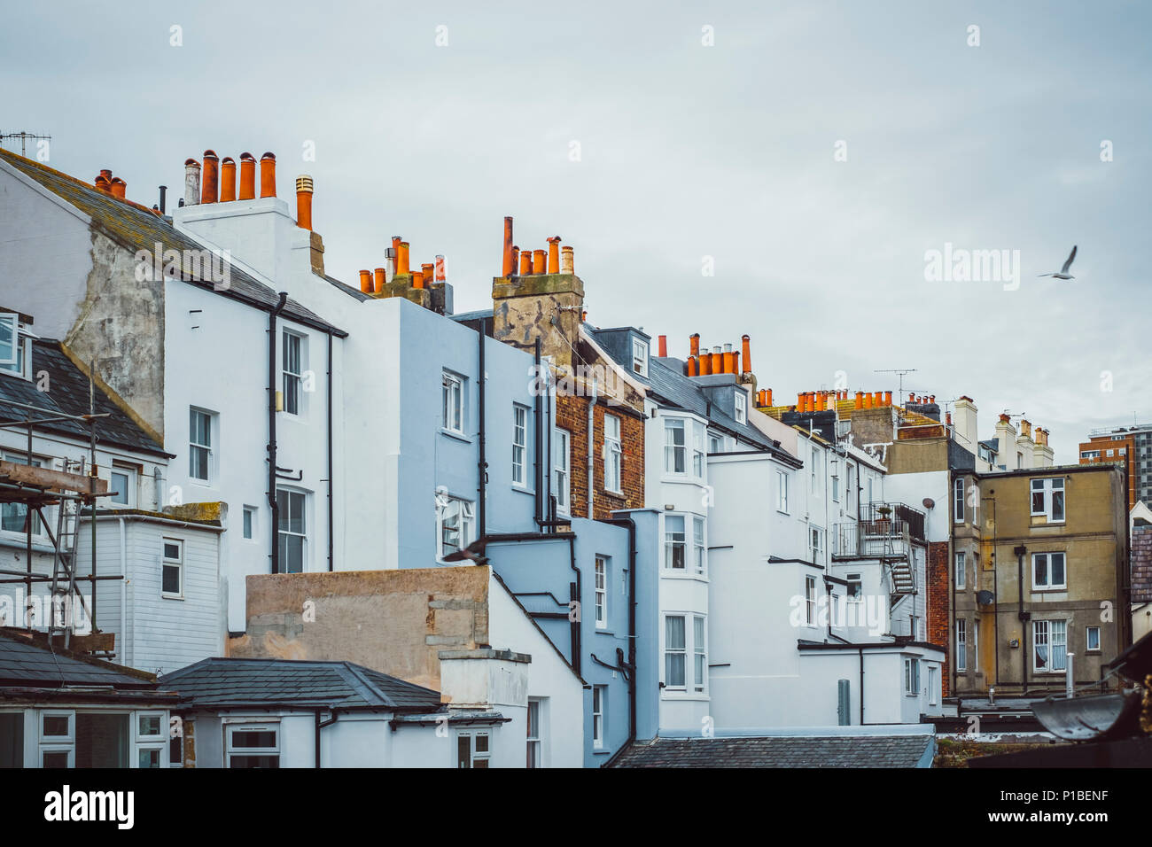 British architecture, facades, chimneys, Brighton, England - Stock Image