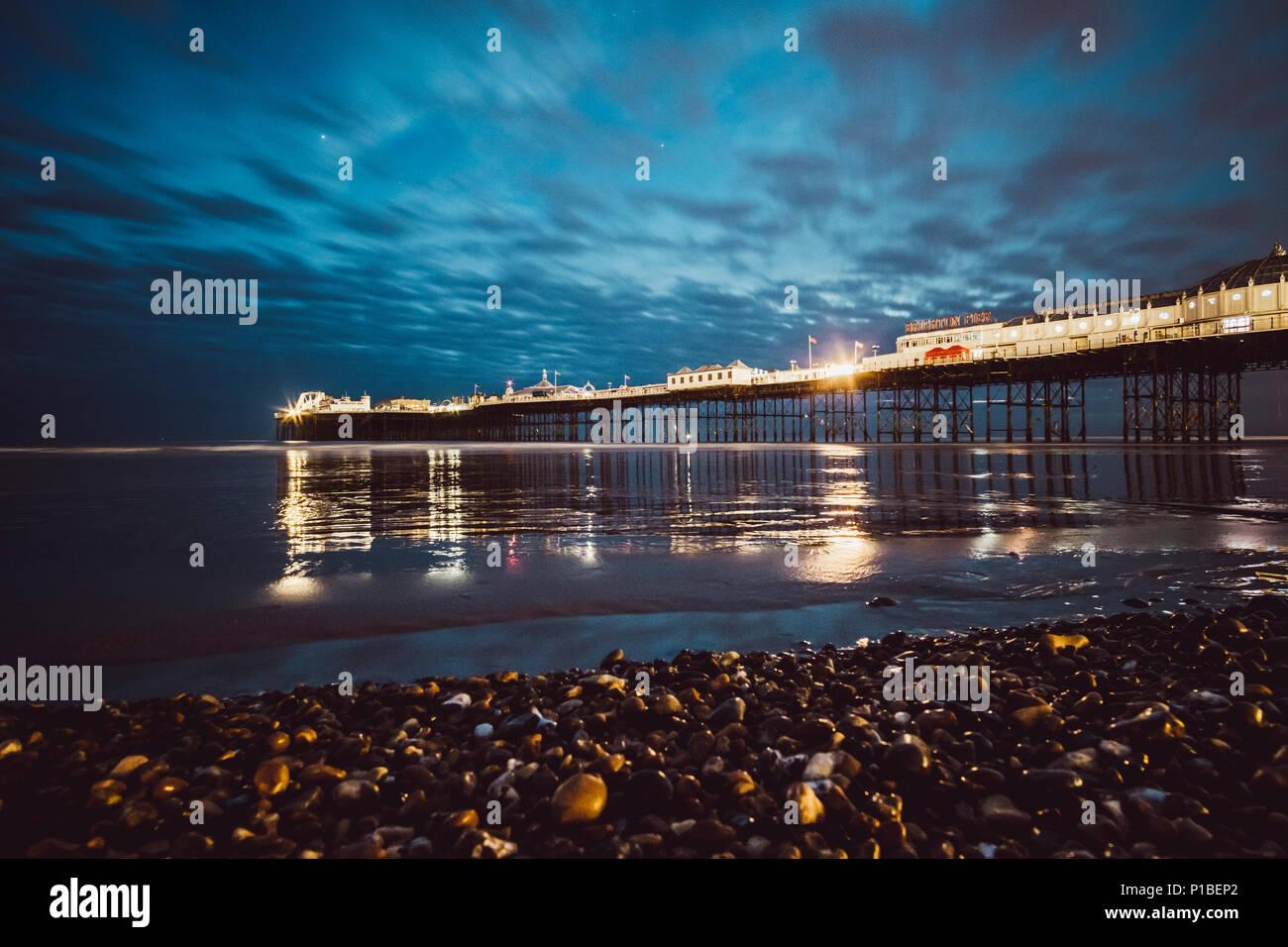 Brighton pier at night, Brighton Beach, Brighton, England - Stock Image