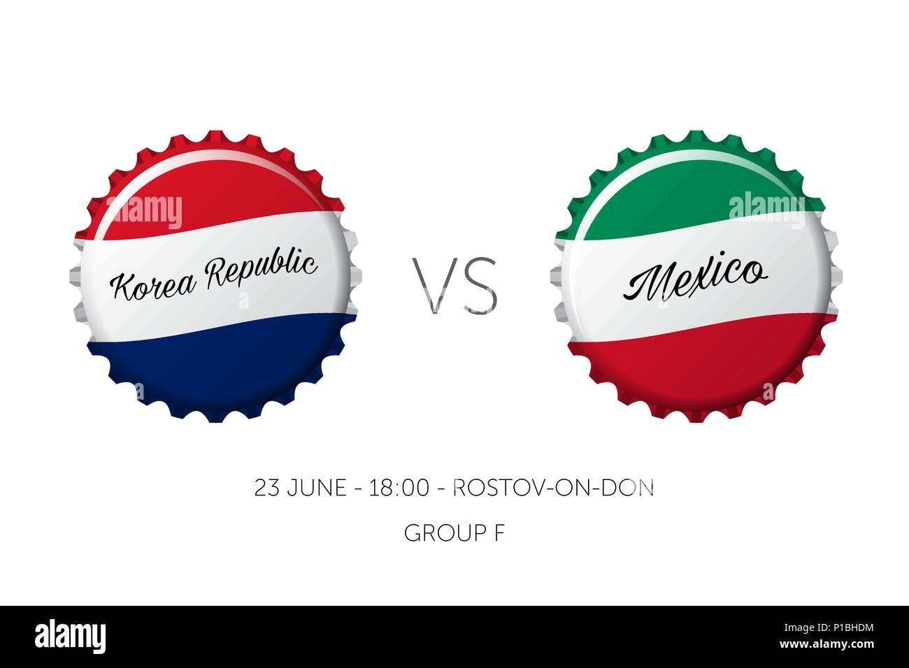 Soccer championship - Korea Republic VS Mexico - 23 June Stock Vector