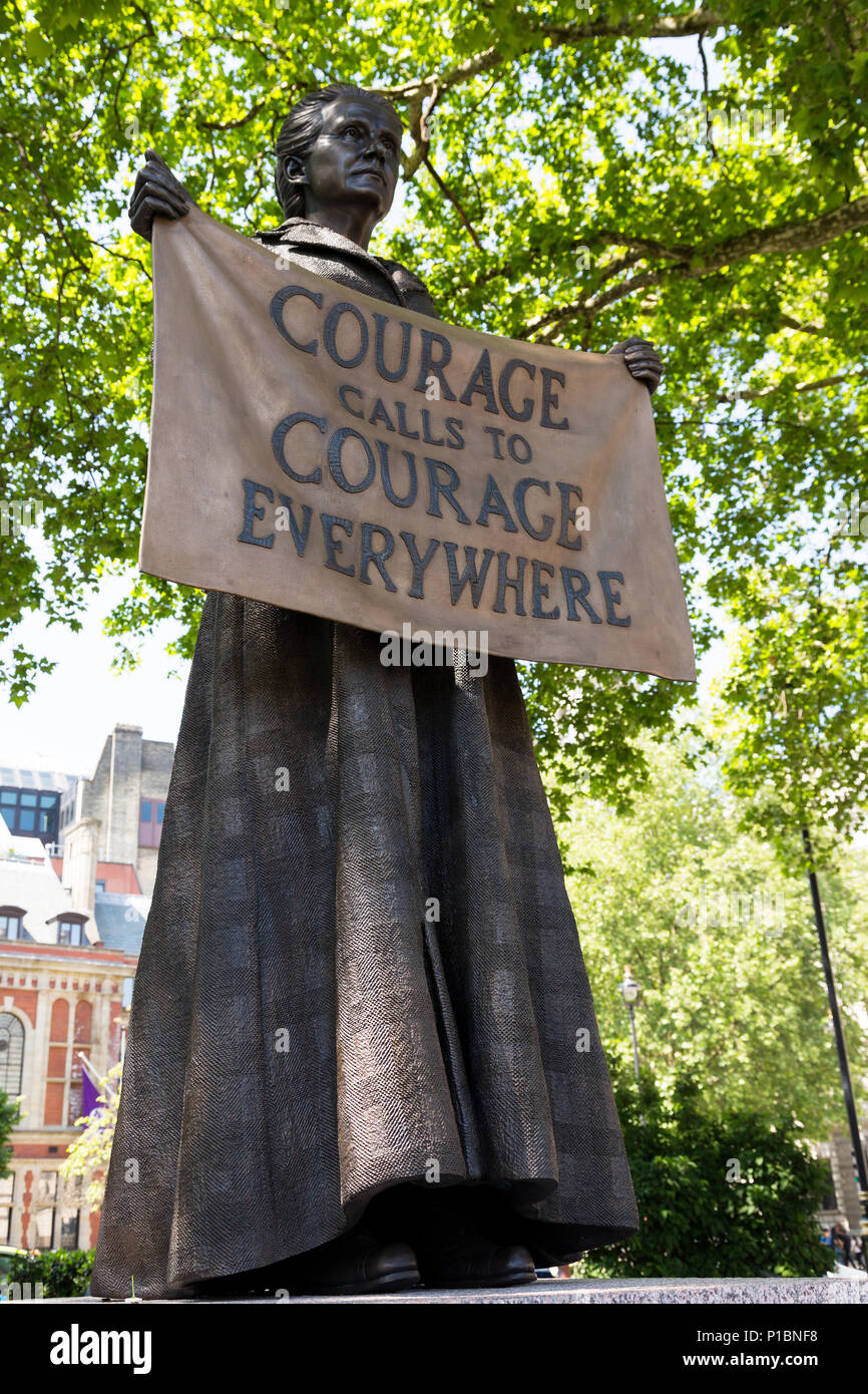 Statue of Suffragist Dame Millicent Garrett Fawcett by Gillian Wearing in Parliament Square, London, UK - Stock Image