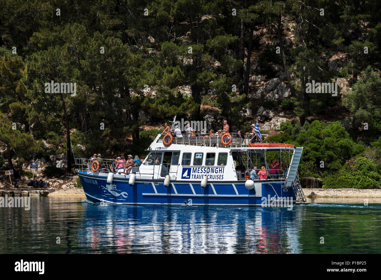 Tourist Boat in Gaios, Paxos. - Stock Image