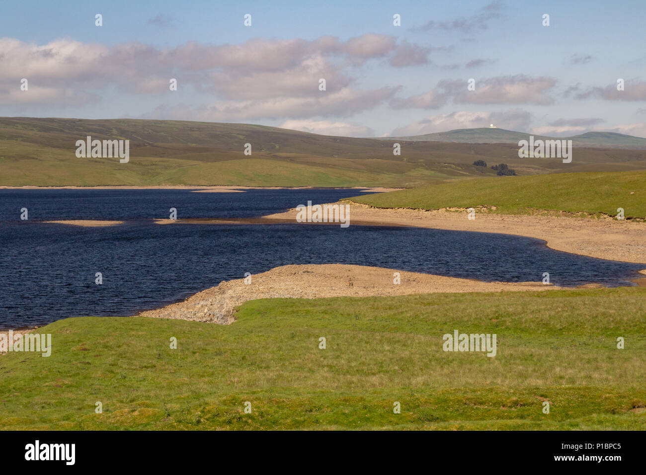 Low water level at Cow Green Reservoir, Upper Teesdale Stock Photo