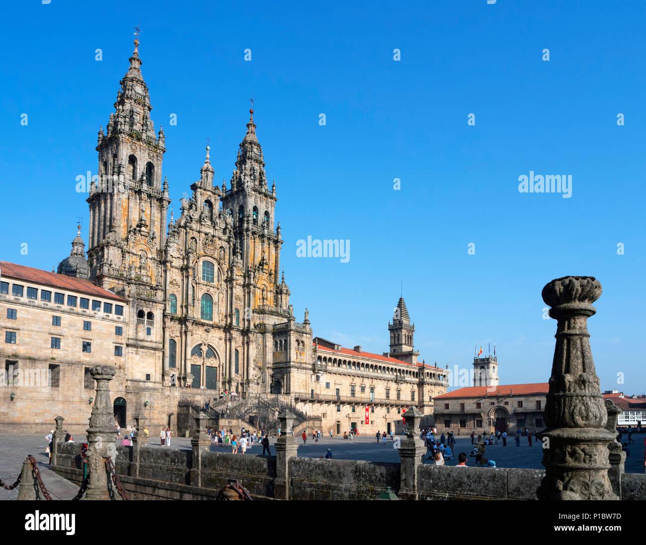 Santiago Cathedral. The Cathedral of Santiago de Compostela from Praza do Obradoiro, Santiago de Compostela, Galicia, Spain - Stock Image