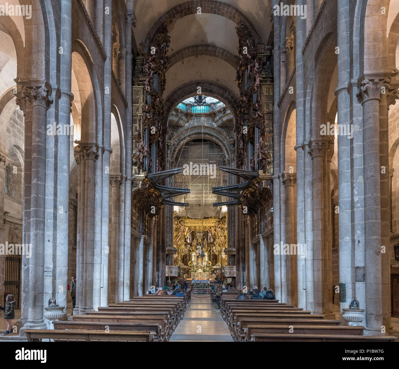 Santiago Cathedral. Interior of the Cathedral of Santiago de Compostela, Santiago de Compostela, Galicia, Spain Stock Photo