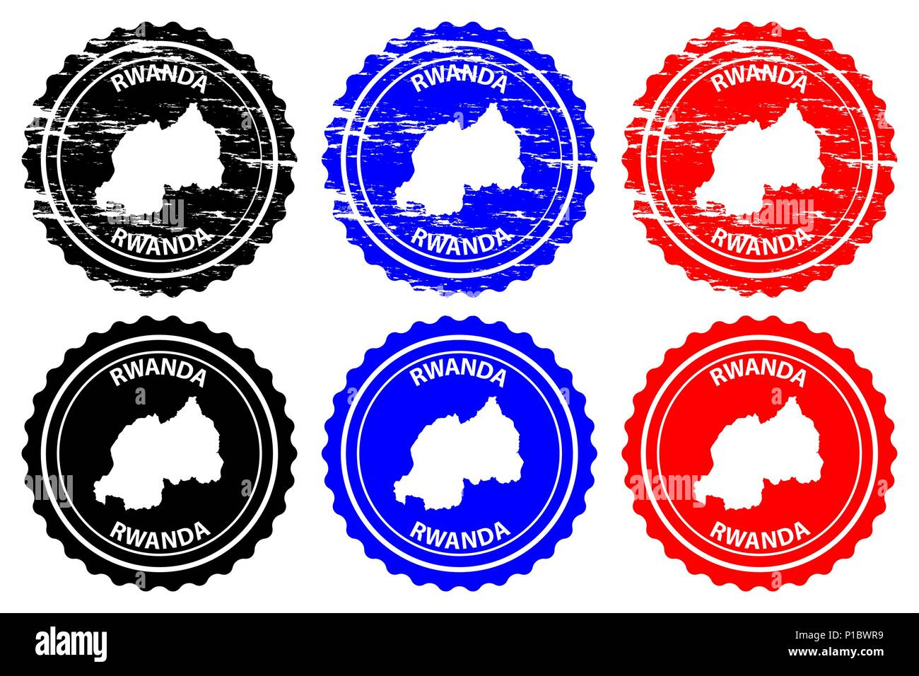 Rwanda - rubber stamp - vector, Republic of Rwanda map pattern - sticker - black, blue, and red - Stock Vector