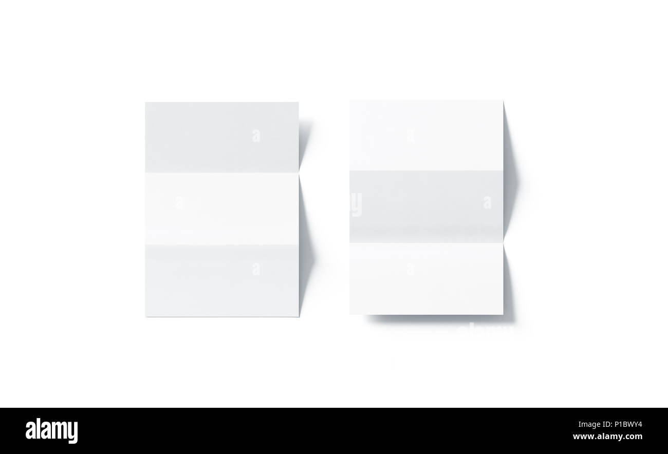 blank white z folded horizontal booklet mock up top view 3d