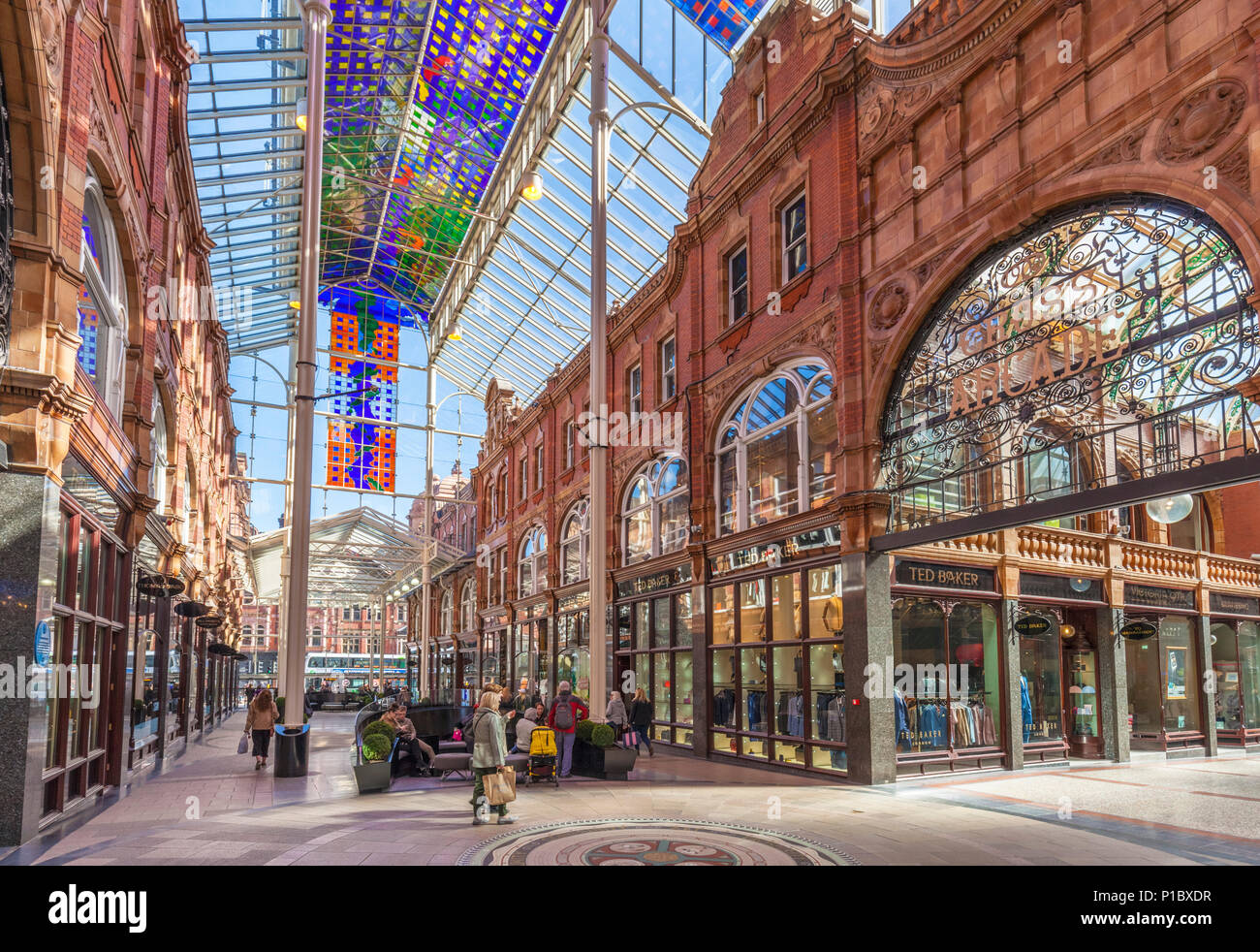 yorkshire england leeds yorkshire england junction of cross arcade and county arcade leeds victoria quarter leeds city centre shopping briggate leeds - Stock Image