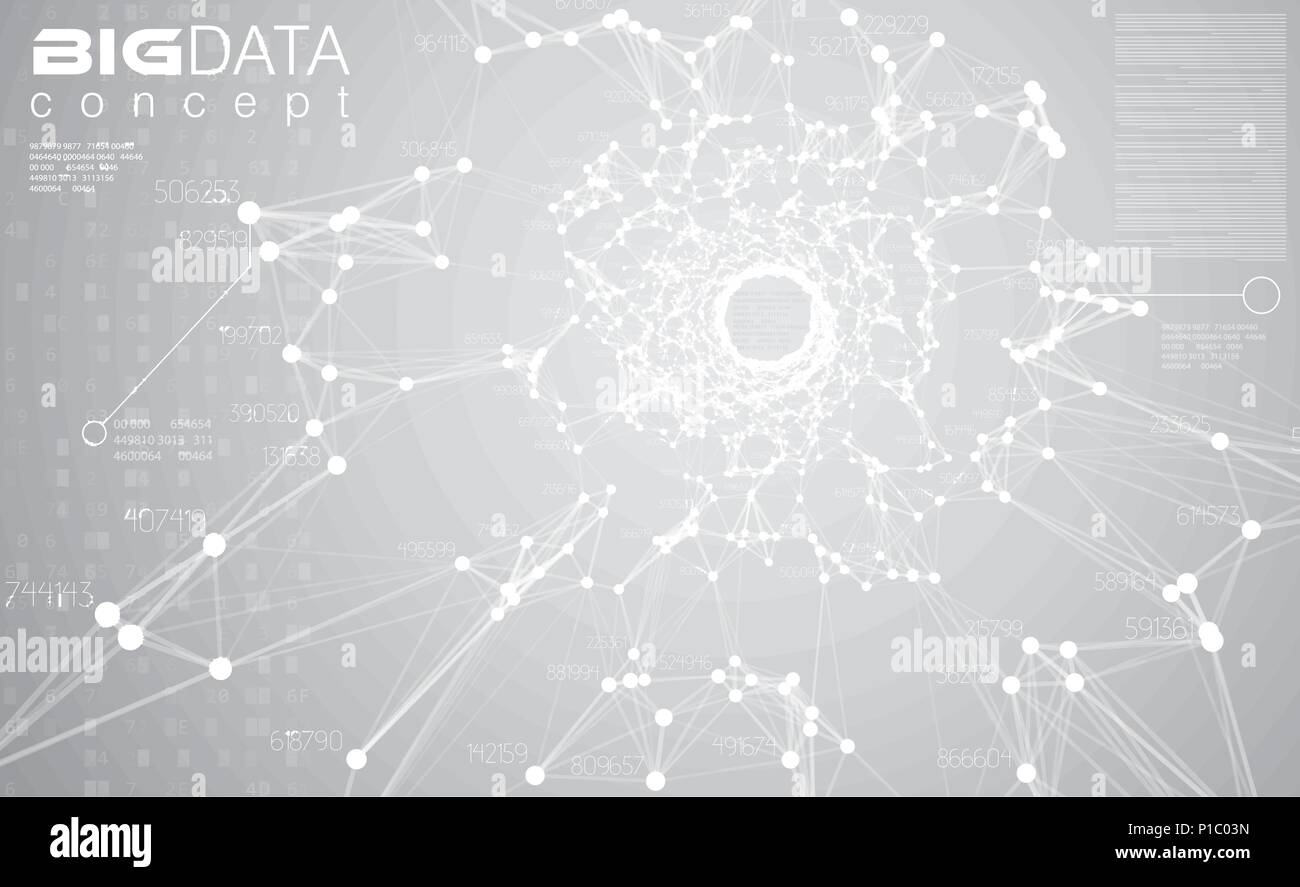 Big data light grey background vector illustration. White information streams center visualization. Future digital technology. Futuristic infographic. - Stock Image