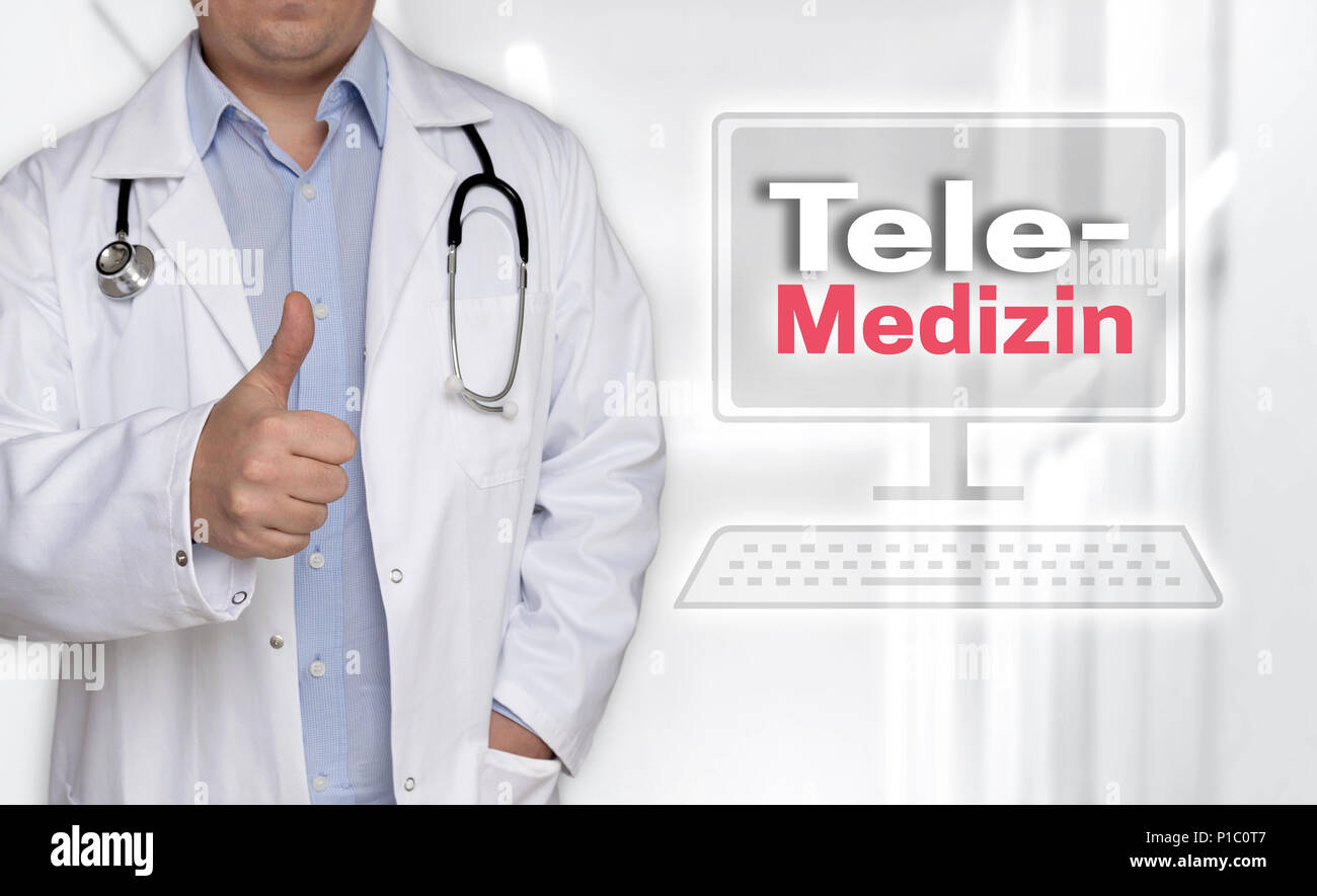 Telemedizin in (german Telemedicine) concept and doctor with thumbs up. - Stock Image