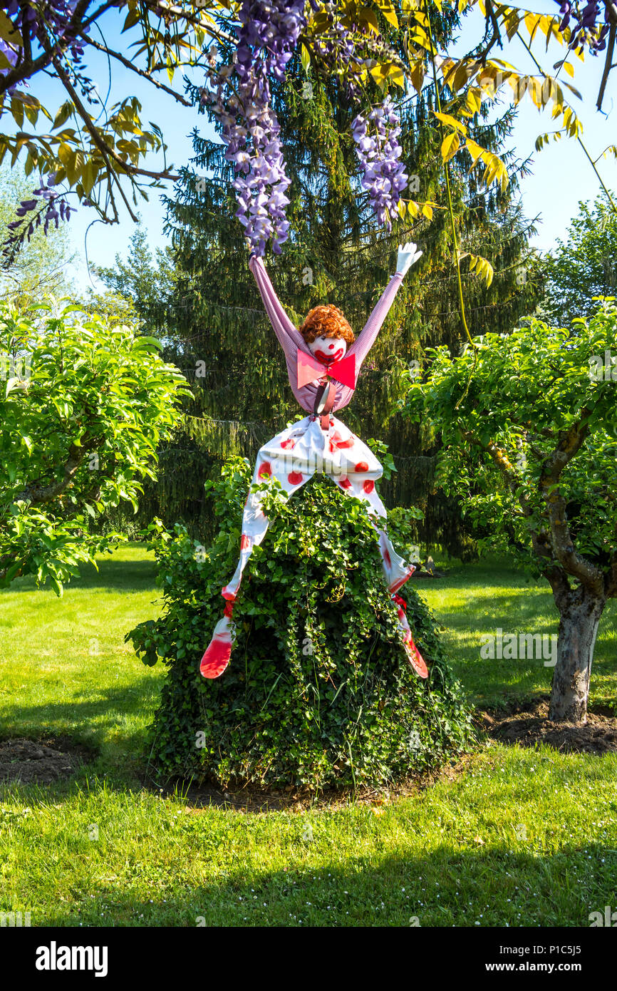 Scarecrow or bird-scare resembling a clown in French garden. - Stock Image