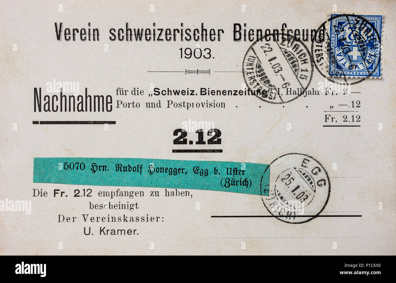 1903 Swiss nachnahme cash-on-delivery postcard with 'Egg' town postmark. - Stock Image