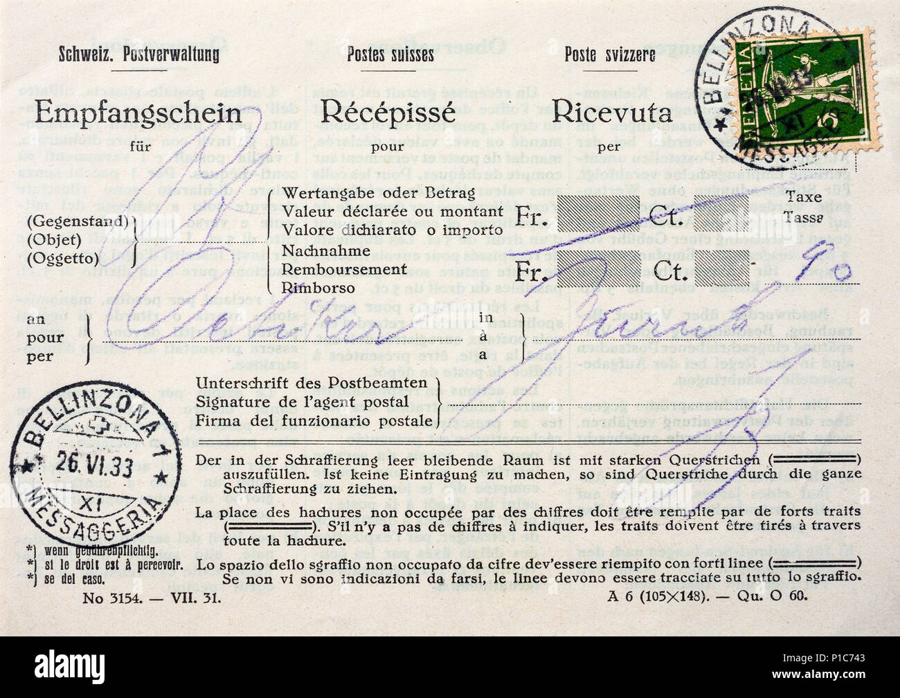 Swiss trilingual receipt for registered letter dated 1933. - Stock Image