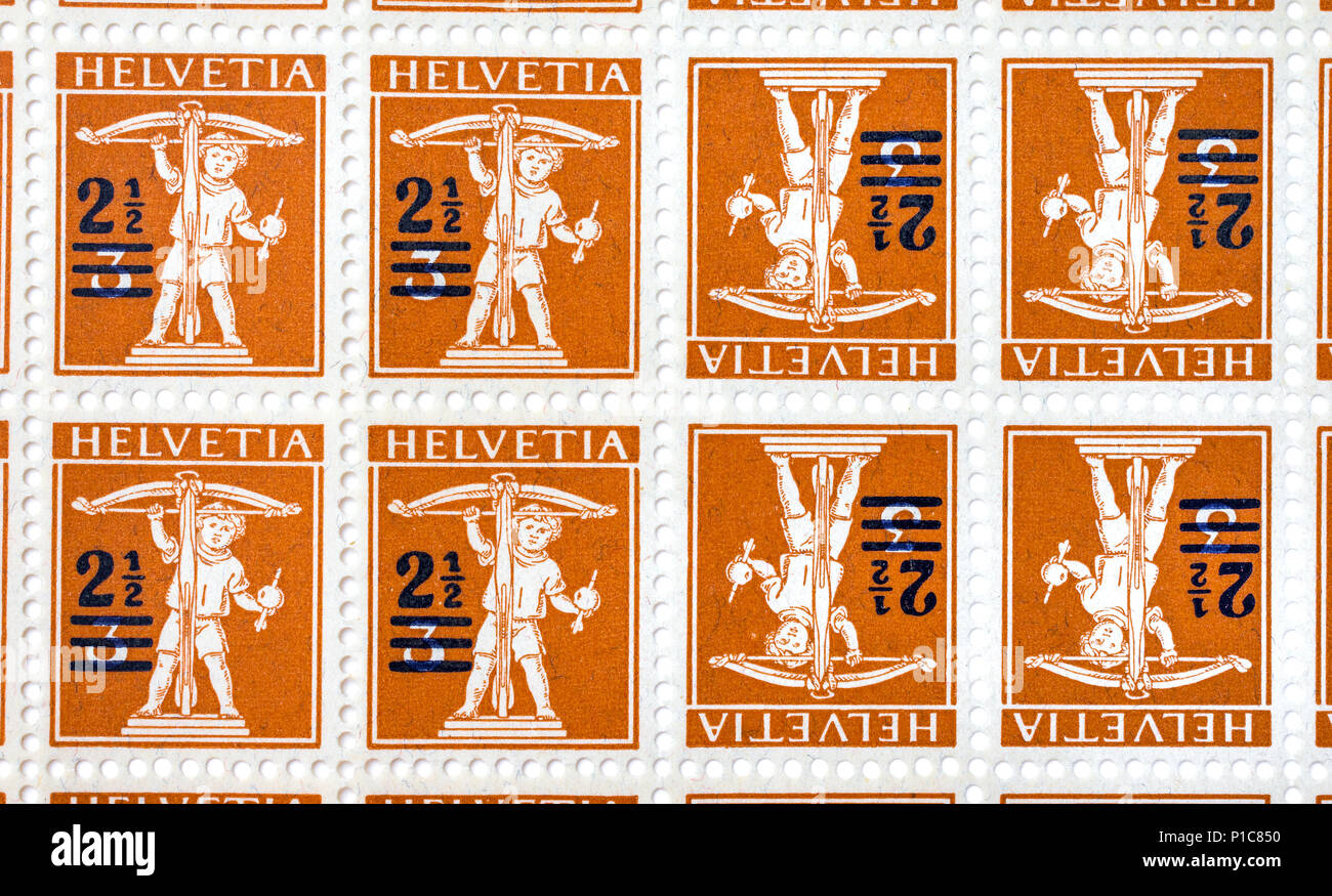 Sheet of unused Swiss tete-beche postage stamps. - Stock Image