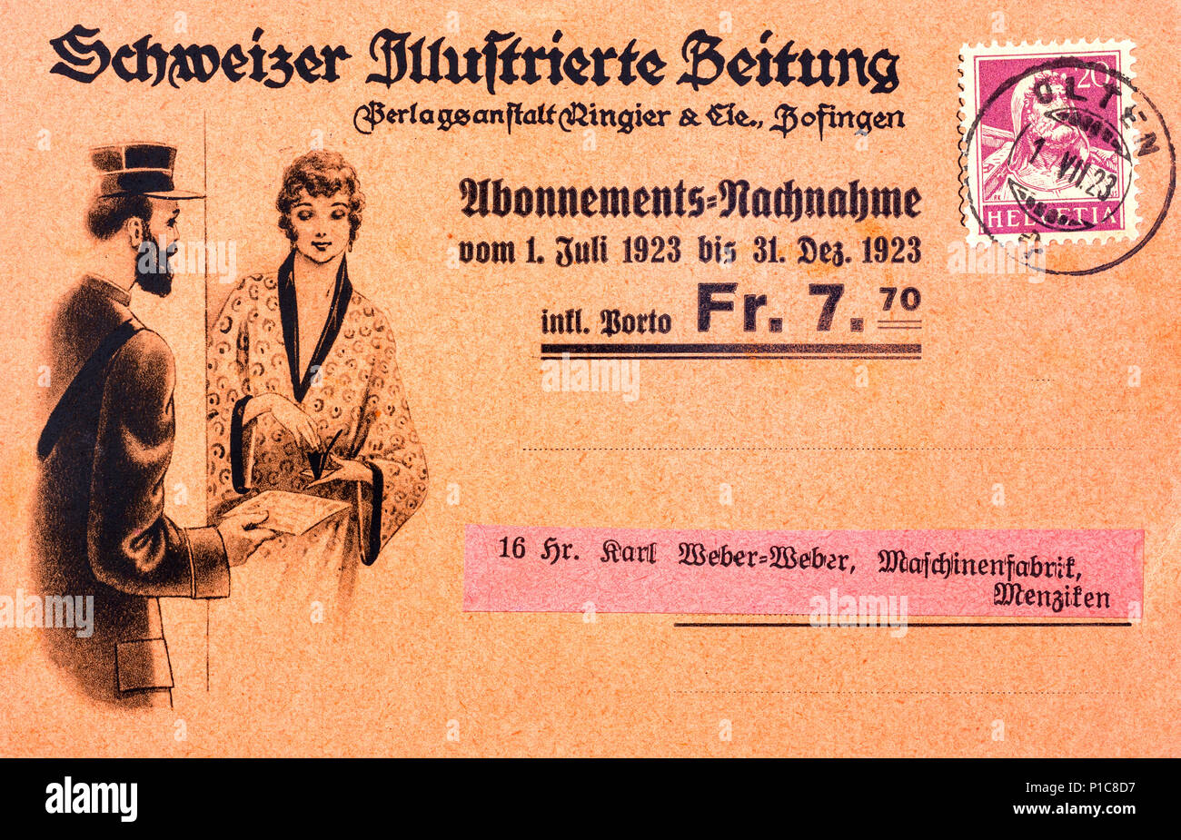 1923 Swiss illustrated nachnahme cash-on-delivery postcard. - Stock Image