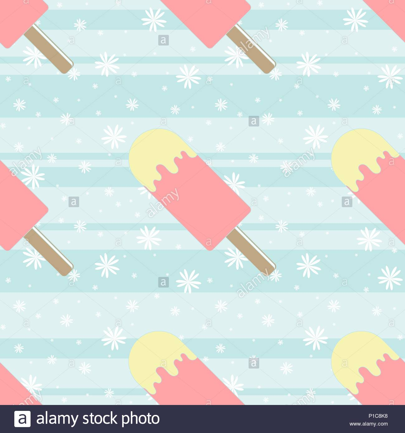 Color Seamless Pattern Of Delicious Melting Ice Cream On A Blue Background Simple Flat Vector Illustration Suitable For Wallpaper Fabric Wrapping