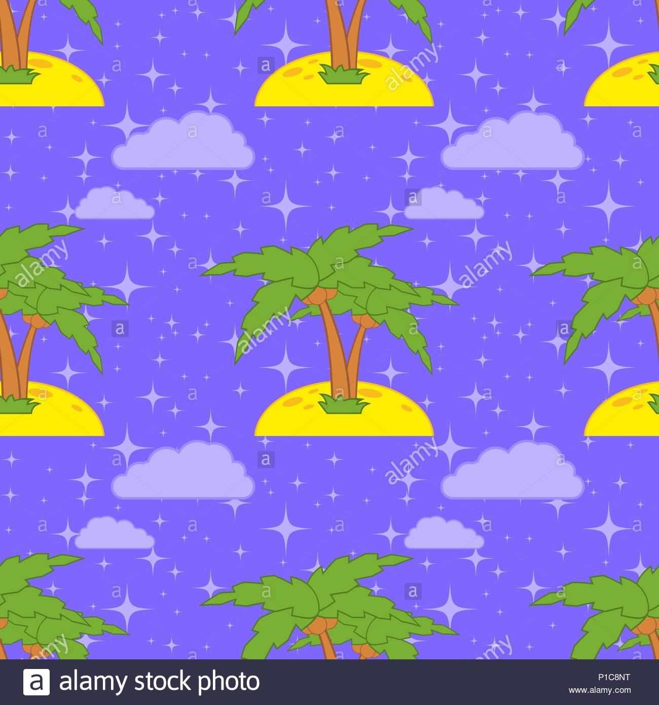 Colorful Seamless Pattern Of Cute Palms On Sand A Blue Background Simple Flat Vector Illustration For The Design Paper Wallpaper Fabric Wrap