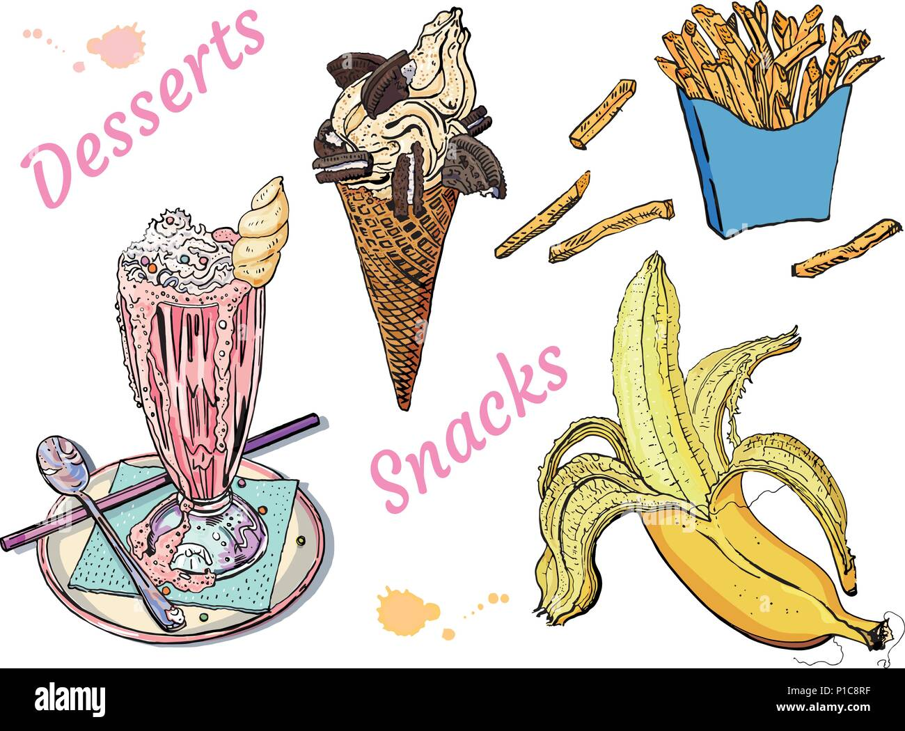 Snacks and desserts: milk shake, ice cream, banana, french fries. Isolated on white background. Hand drawn vintage sketchy style vector illustration. Food, cafe menu, delicious, sweet summer. Stock Vector