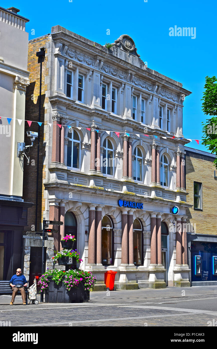 Barclays Bank office building located in the town centre of Bridgend, South Wales & is part of the local conservation area. - Stock Image