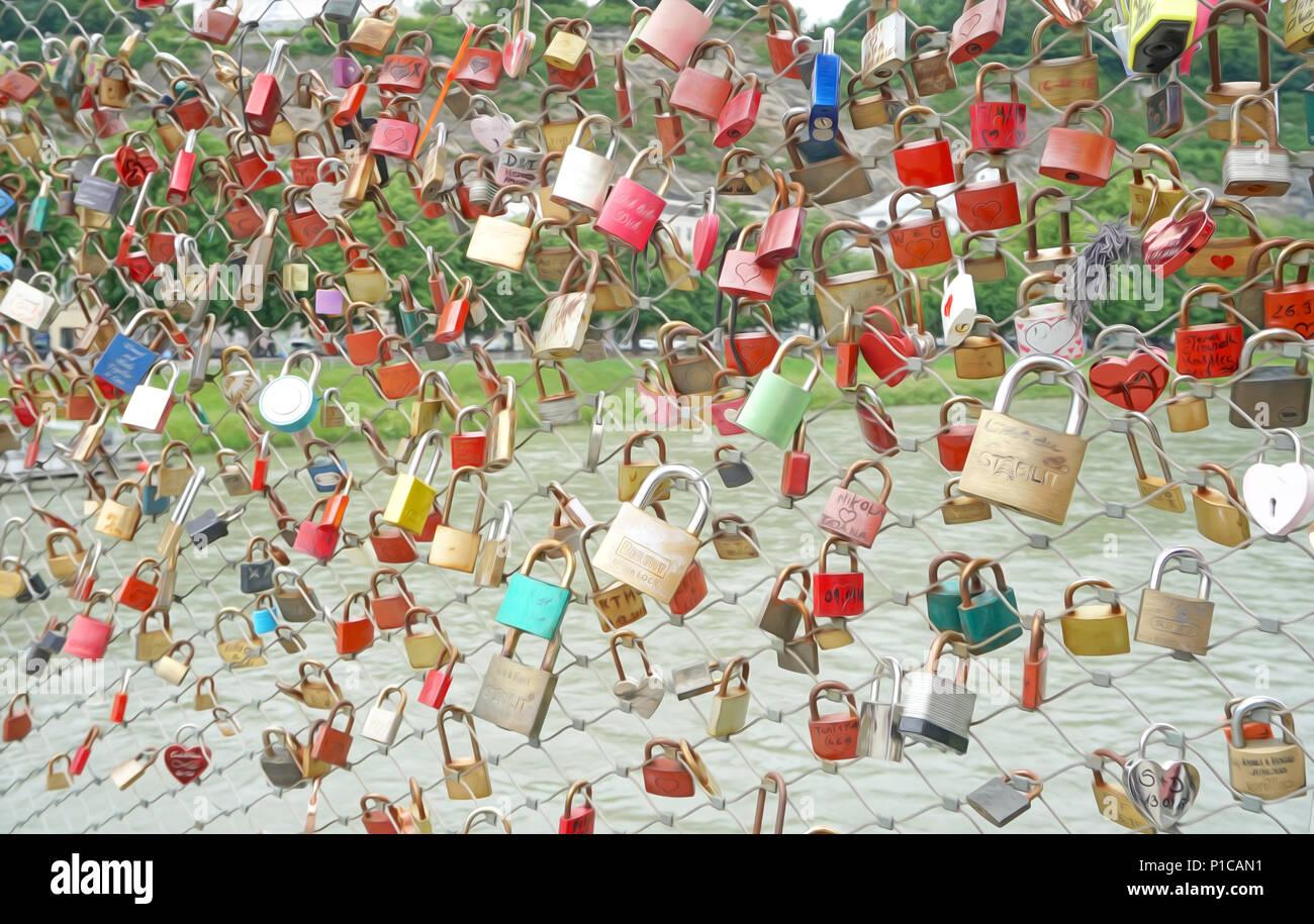 Love lock bridge Salzburg Stock Photo