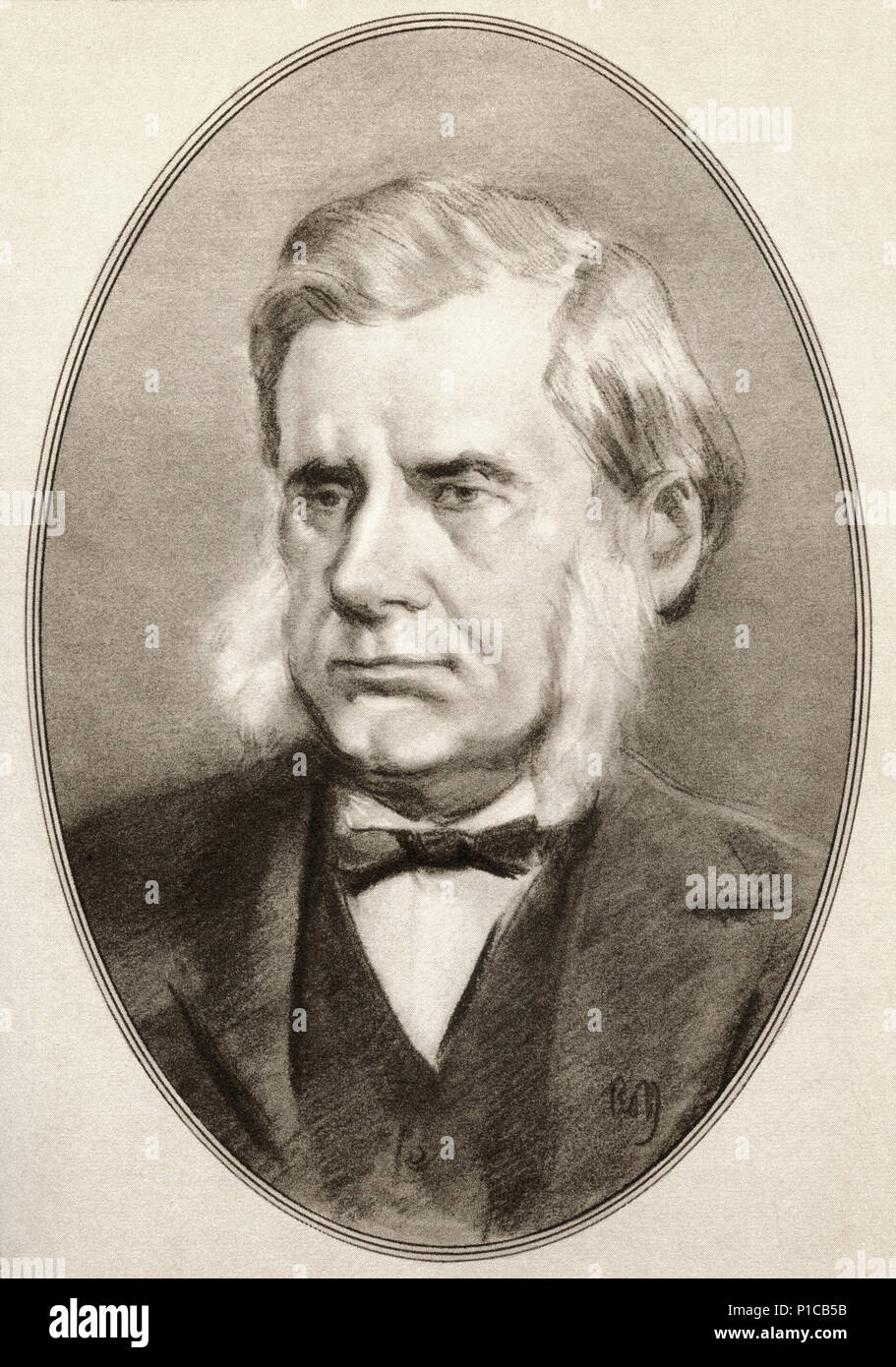 Thomas Henry Huxley, 1825 – 1895.  English biologist specialising in comparative anatomy.  Illustration by Gordon Ross, American artist and illustrator (1873-1946), from Living Biographies of Great Scientists. - Stock Image
