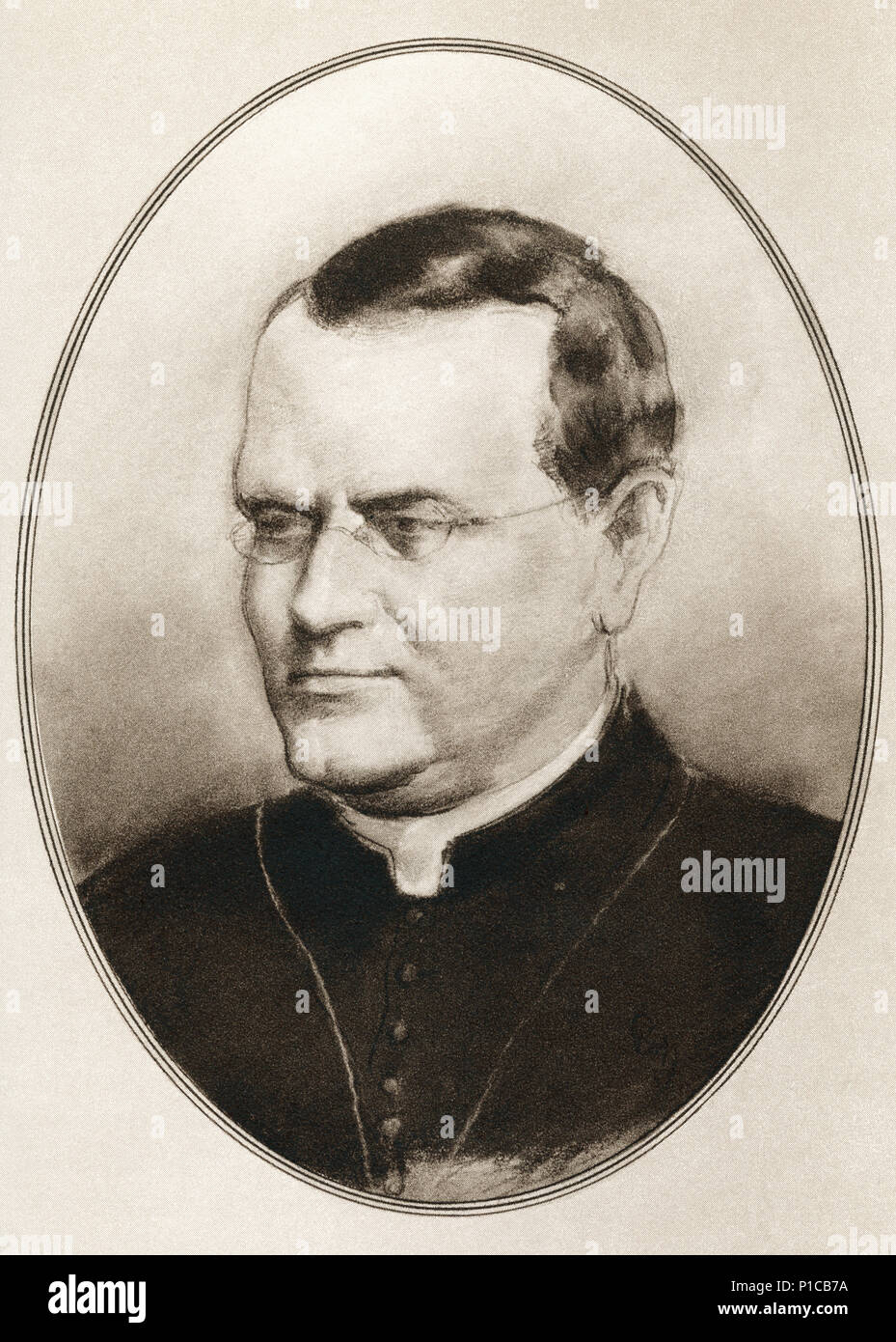 Gregor Johann Mendel, 1822 -1884.  Scientist, Augustinian friar and abbot of St. Thomas' Abbey in Brno, Margraviate of Moravia.  Illustration by Gordon Ross, American artist and illustrator (1873-1946), from Living Biographies of Great Scientists. - Stock Image