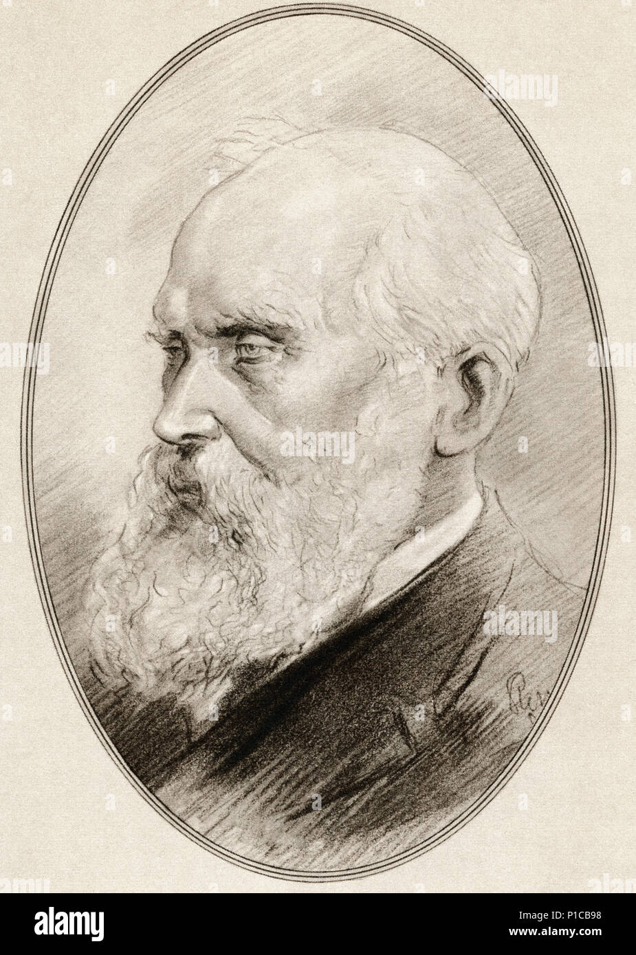 William Thomson, 1st Baron Kelvin, 1824 – 1907.  Scots-Irish mathematical physicist and engineer.  Illustration by Gordon Ross, American artist and illustrator (1873-1946), from Living Biographies of Great Scientists. - Stock Image