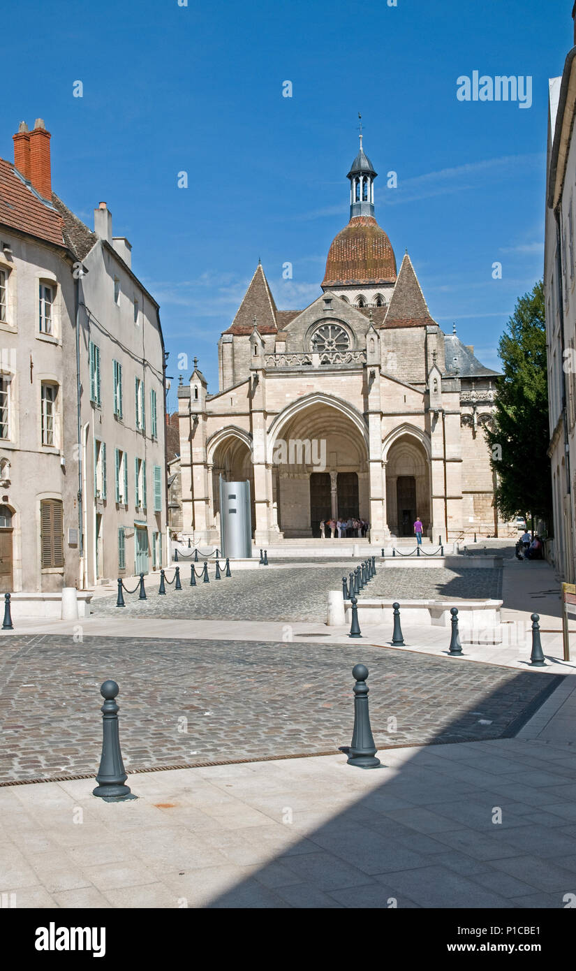 Cathedral of Notre Dame or Basilique Collégiale Notre Dame Beaune Burgundy France built in the Romanesque and Gothic styles from 11th to 15th century Stock Photo