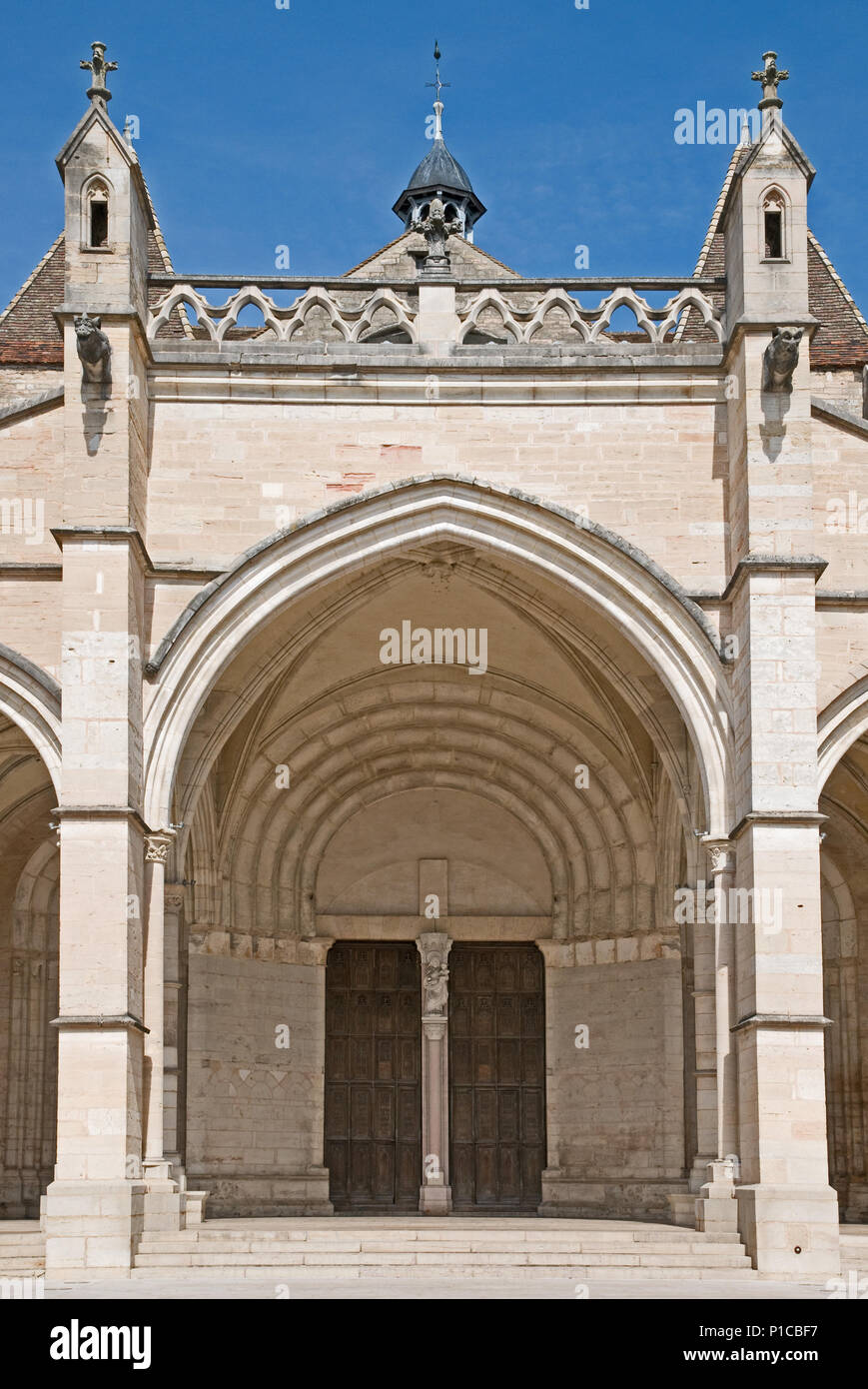Entrance porch to Cathedral of Notre Dame or Basilique Collégiale Notre Dame Beaune France built in Romanesque and Gothic styles 11th to 15th century Stock Photo