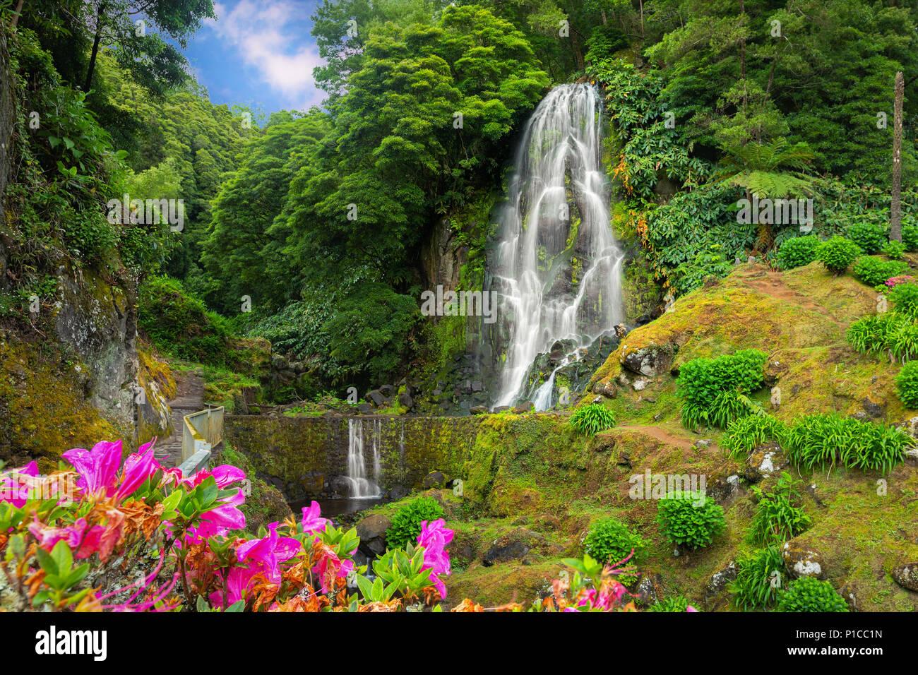 Veu da Noiva waterfall, Sao Miguel island, Azores, Portugal - Stock Image