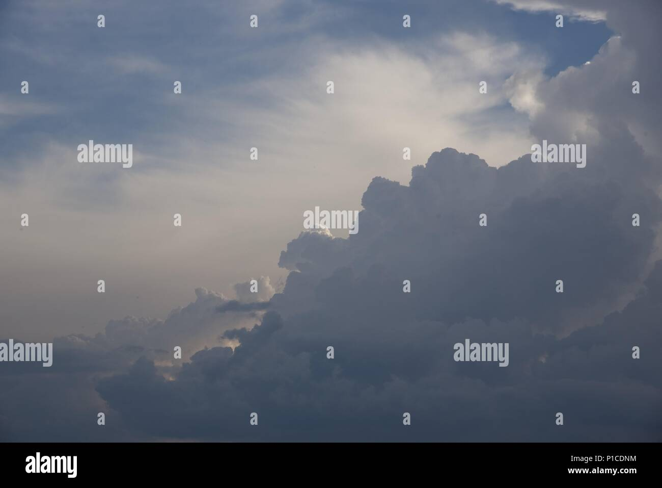 Cloudscape: a panoramic view of sky with cumulus and cirrus clouds - Stock Image