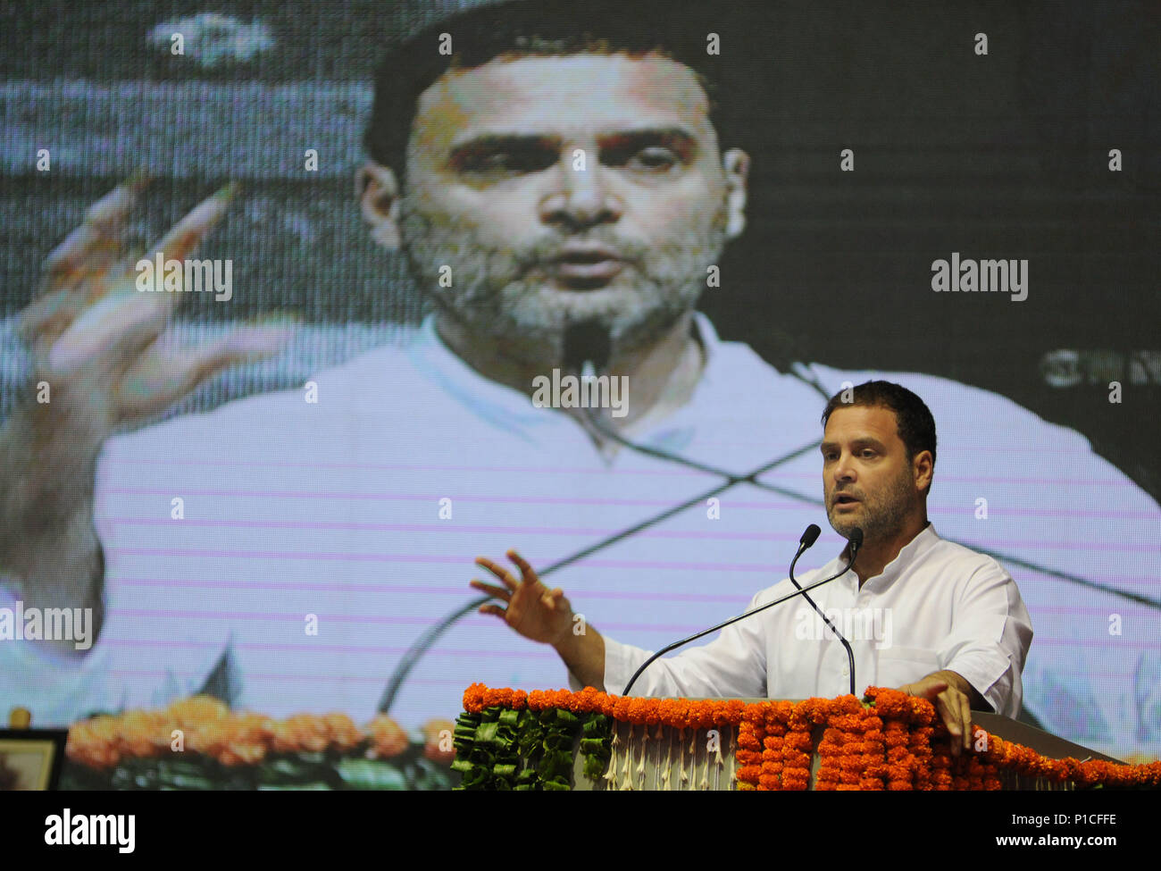 New Delhi, India. 11th June, 2018. Rahul Gandhi, president of India's main opposition party the Indian National Congress (INC), addresses the national convention for Other Backward Classes (OBC) in New Delhi, India, June 11, 2018. Credit: Stringer/Xinhua/Alamy Live News - Stock Image