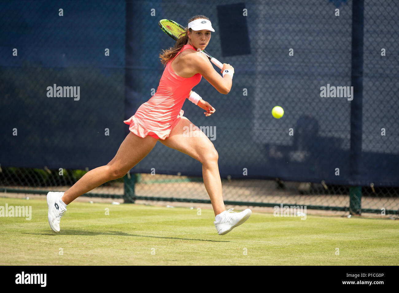 Nottingham Tennis Centre, Nottingham, UK. 11th June, 2018. The Nature Valley Open Tennis Tournament; Vera Lapko (BLR) plays a running backhand as she wins the first set against Jana Fett (CRO) Credit: Action Plus Sports/Alamy Live News - Stock Image