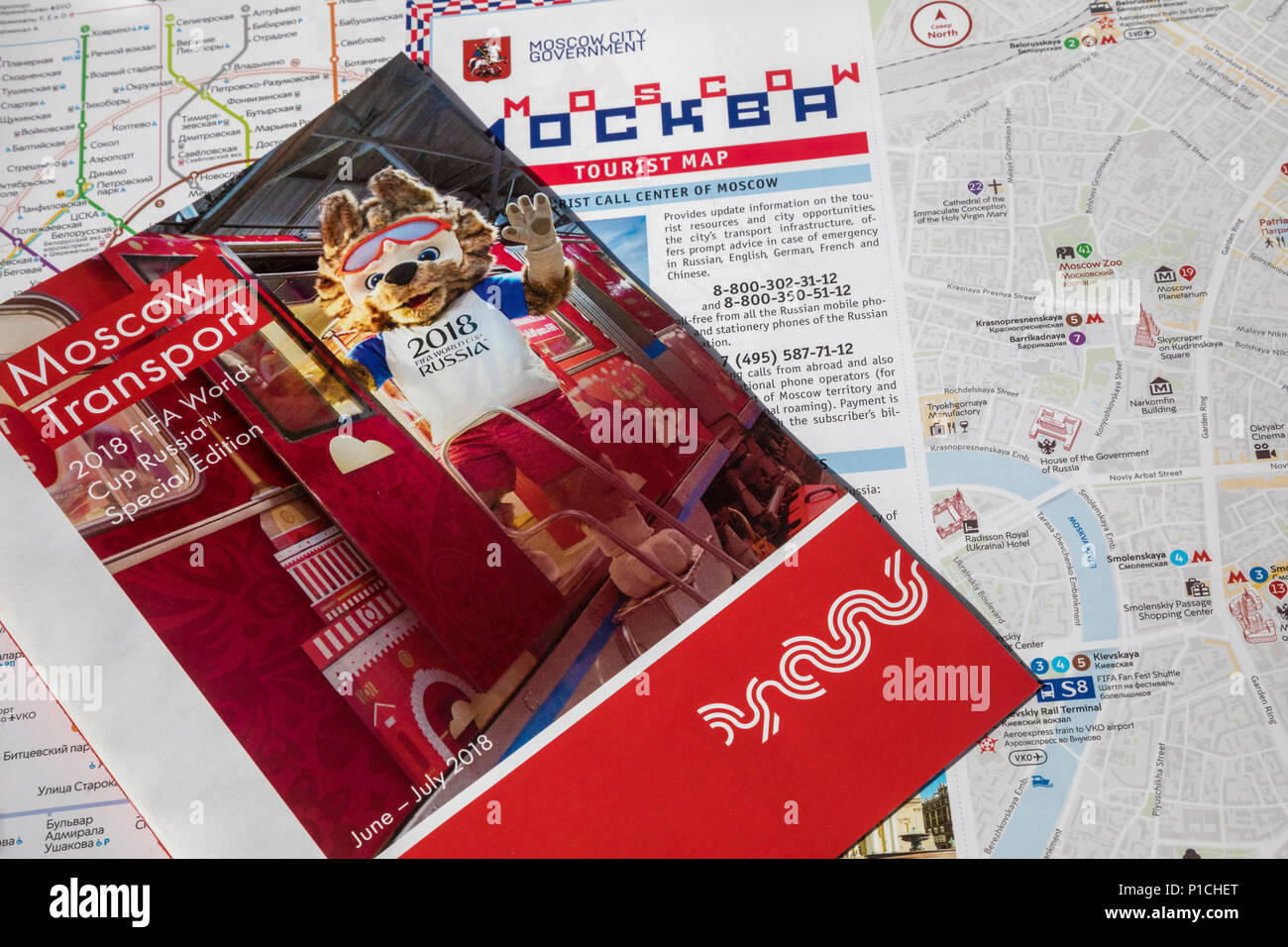 Moscow, Russia. 11th June, 2018. Travel Guide and Travel Information for visitors of the FIFA World Cup 2018 at outdoors information desk in Moscow, Russia Credit: Nikolay Vinokurov/Alamy Live News - Stock Image
