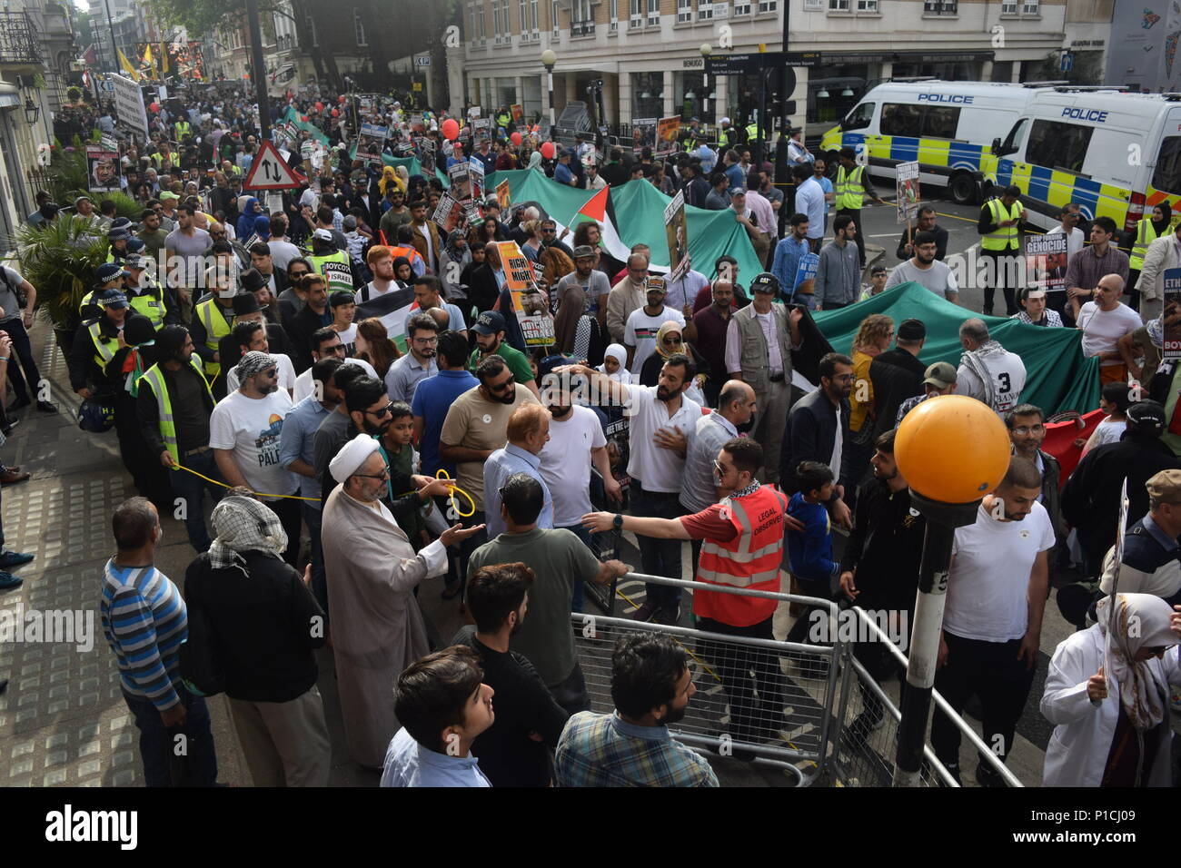 Al Quds march in London from Curzon Street to Downing Street - Stock Image