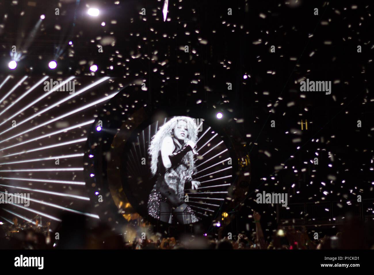 London, United Kingdom. 11 June, 2018.Shakira performs in London, United Kingdom. Credit: Brayan Lopez/Alamy Live News. Stock Photo