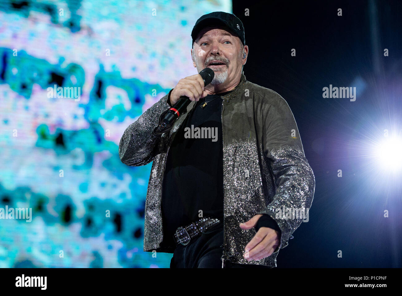 Rome, Italy. 11th June 2018. Italian singer and songwriter, Vasco Rossi performing live on stage his 'Vasco non stop tour 2018' at Olympic Stadium, Rome, Italy on 11 June 2018. Photo by Giuseppe Maffia Credit: Giuseppe Maffia/Alamy Live News Stock Photo