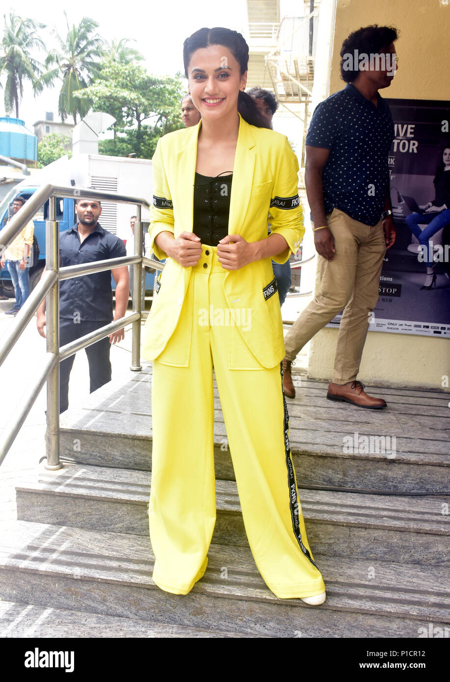 Indian film actress Tapsee Panuu pose during trailer launch of her upcoming film Soorma, the film Biopic of Hockey player Sandeep Singh in Mumbai. - Stock Image
