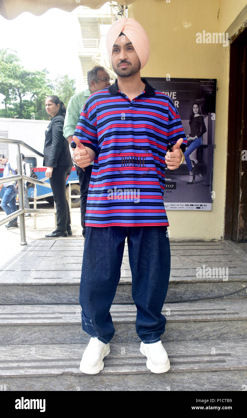 Mumbai, India. 11th June, 2018. Indian film actor Diljit Dosanjh pose during trailer launch of his upcoming film Soorma, the film Biopic of Hockey player Sandeep Singh in Mumbai. Credit: Azhar Khan/SOPA Images/ZUMA Wire/Alamy Live News - Stock Image