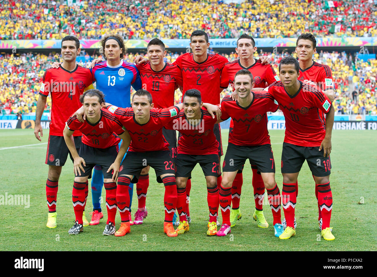 Preview of the first match of the German national football team at the FIFA World Cup 2018 in Russia: On 17.06.2018, the team of Jogi Loew meets Mexico in Mexico, The Mexican team, the team, team photo, team photo, before the game in two rows; hi.left to right: Rafael MARQUEZ (MEX), Guillermo OCHOA, goalie (MEX), Oribe PERALTA (MEX), Francisco RODRIGUEZ (MEX), Brazil - Mexico 0: 0, preliminary round Group A, match 17, on 17.06.2014 in Fortaleza; Football World Cup 2014 in Brazil from 12.06. - 13.07.2014. | usage worldwide - Stock Image