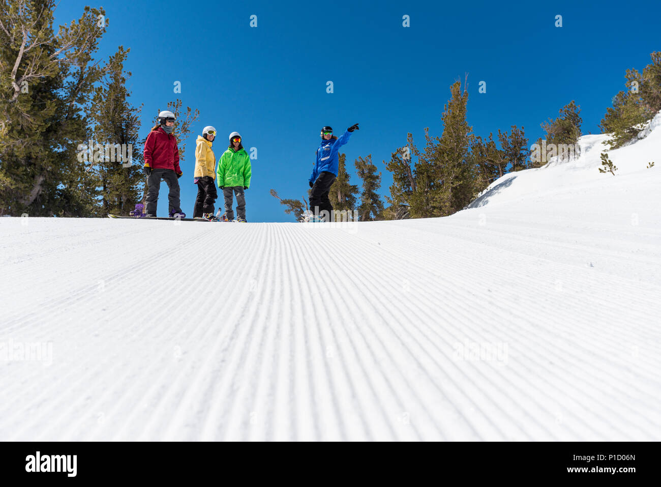 Snowboarding group lessons at Heavenly Valley Ski resort in South Lake Tahoe, California, North America. Stock Photo