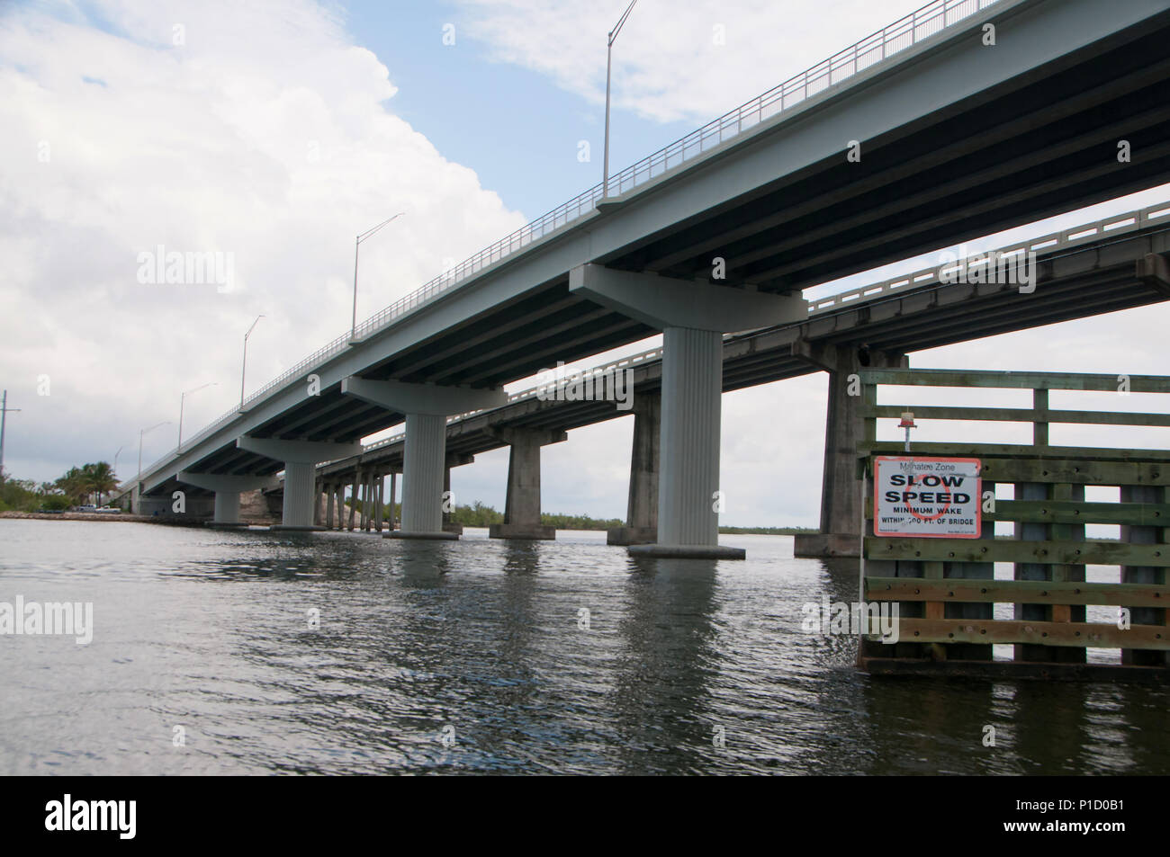 The bridges and flats of Cape Coral and Fort Myers offer excellent fishing for  a variety of species. Stock Photo