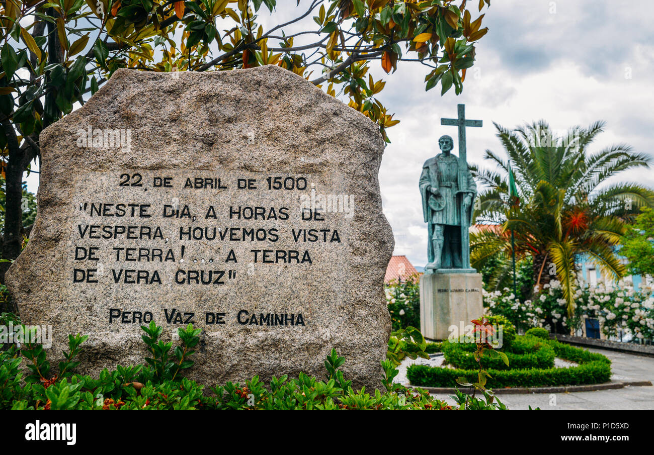 Statue of Pedro Alvares Cabral, navigator who discovered the land of Brazil in 1500, in his native town Belmonte - Stock Image