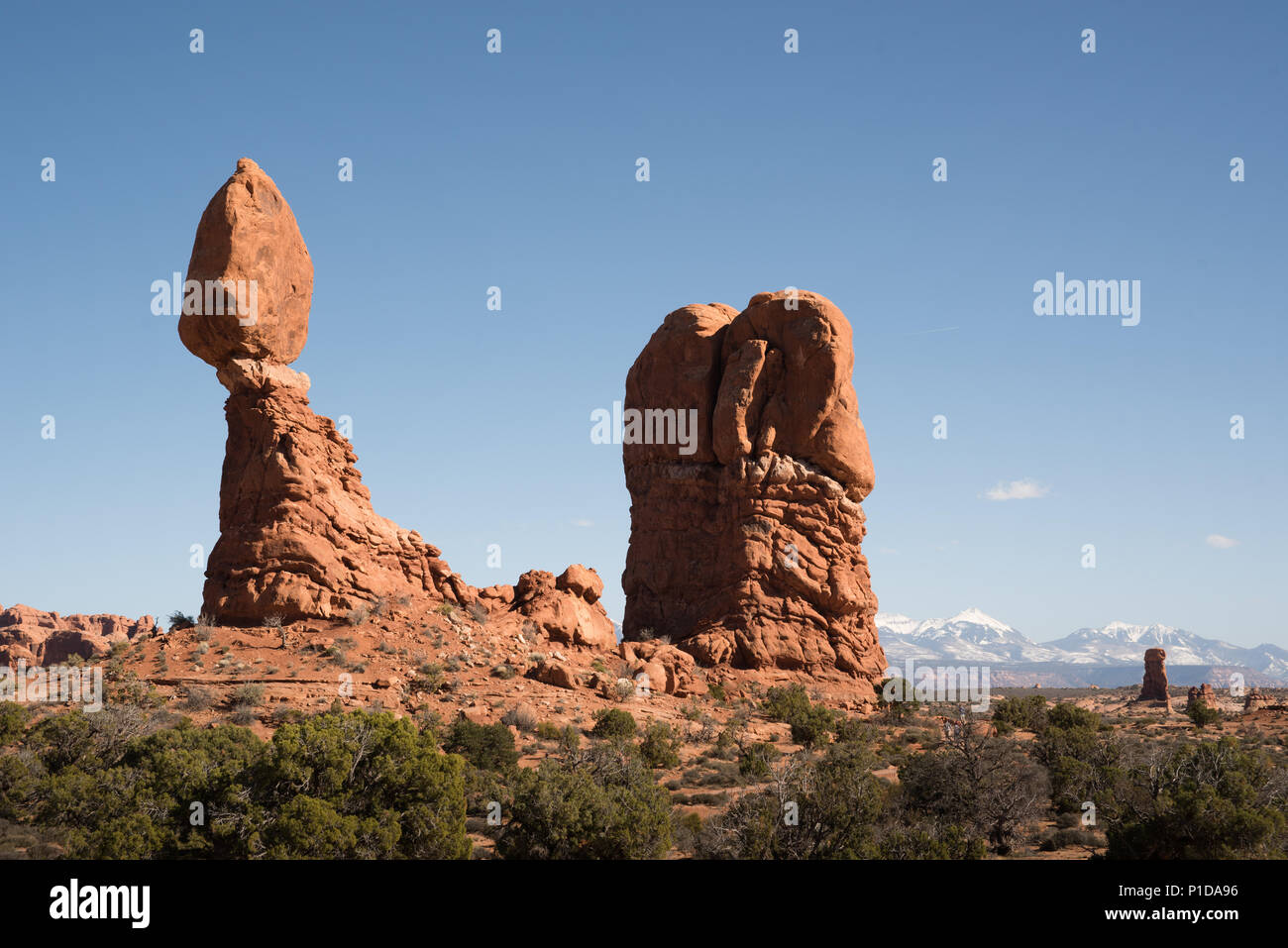 Rock formations in Arches National Park, Utah. - Stock Image