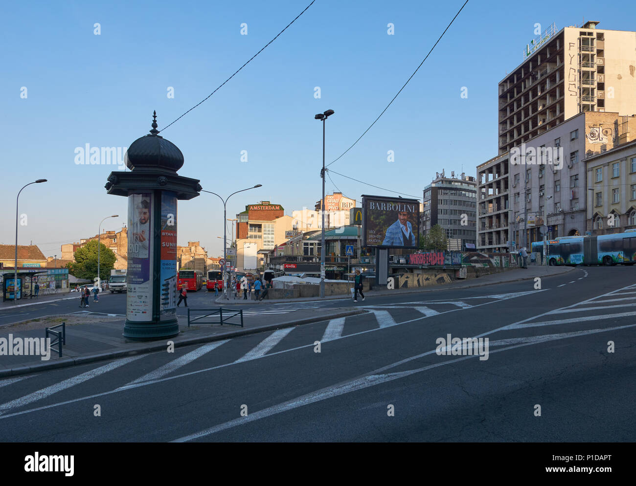 Belgrade, Serbia - May 03, 2018: Morning on Kraljice Natalije street Stock Photo