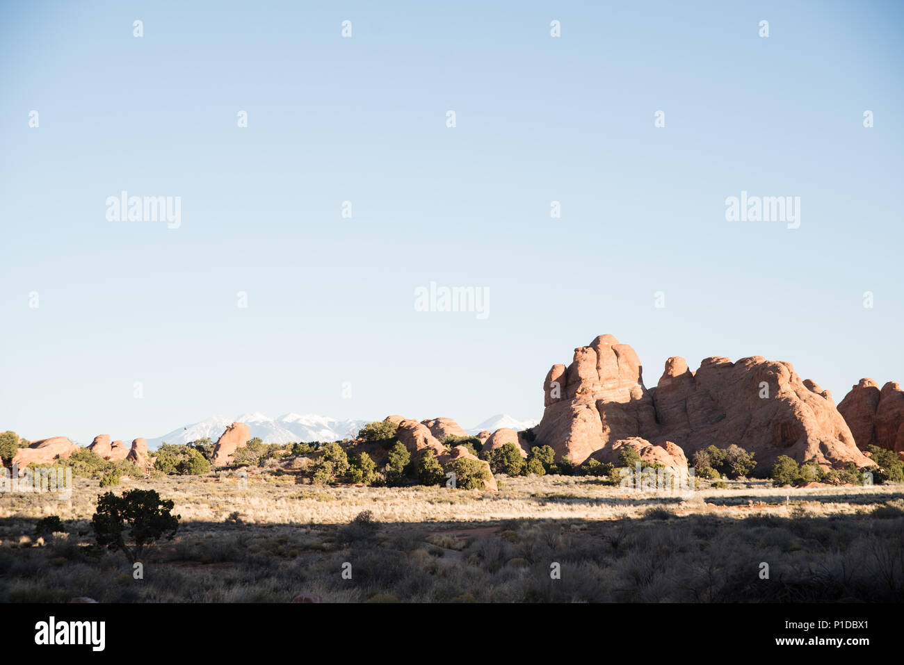 Landscape view of boulders at Arches National Park, Utah. - Stock Image