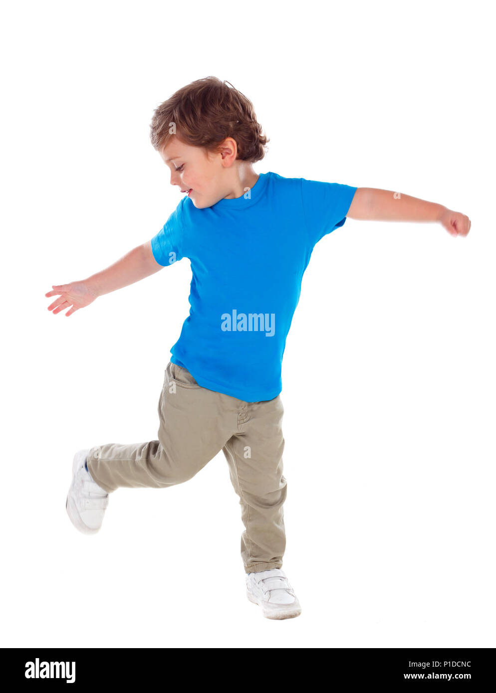 b940c4f2c592 Beautiful little child three years old wearing blue t-shirt solated on  white background