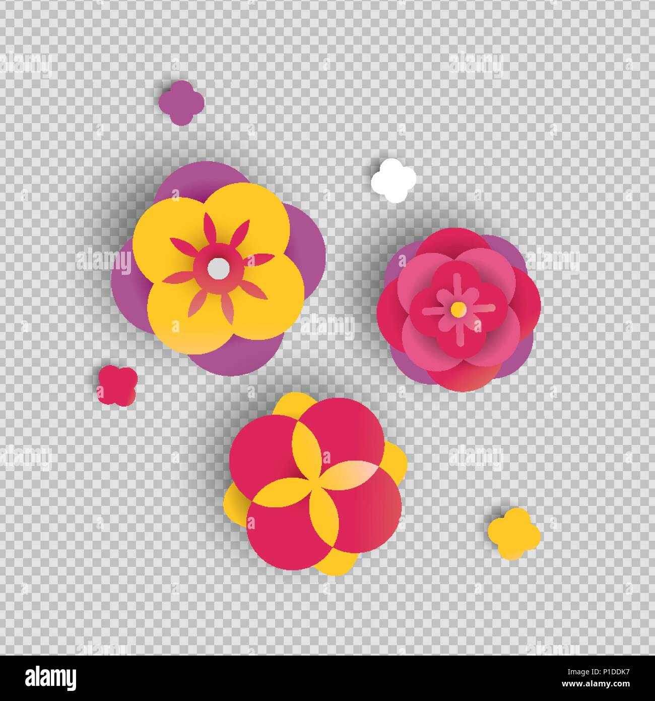 Paper flower set on transparent background isolated 3d papercut paper flower set on transparent background isolated 3d papercut rose flowers in pink color eps10 vector mightylinksfo