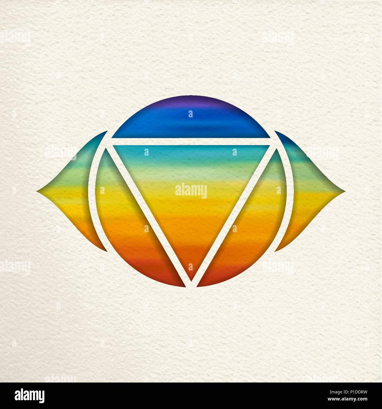 ajna 6th chakra illustration in paper cut style colorful watercolor background yoga shape of third eye eps10 vector P1DDRW third eye chakra stock vector images alamy