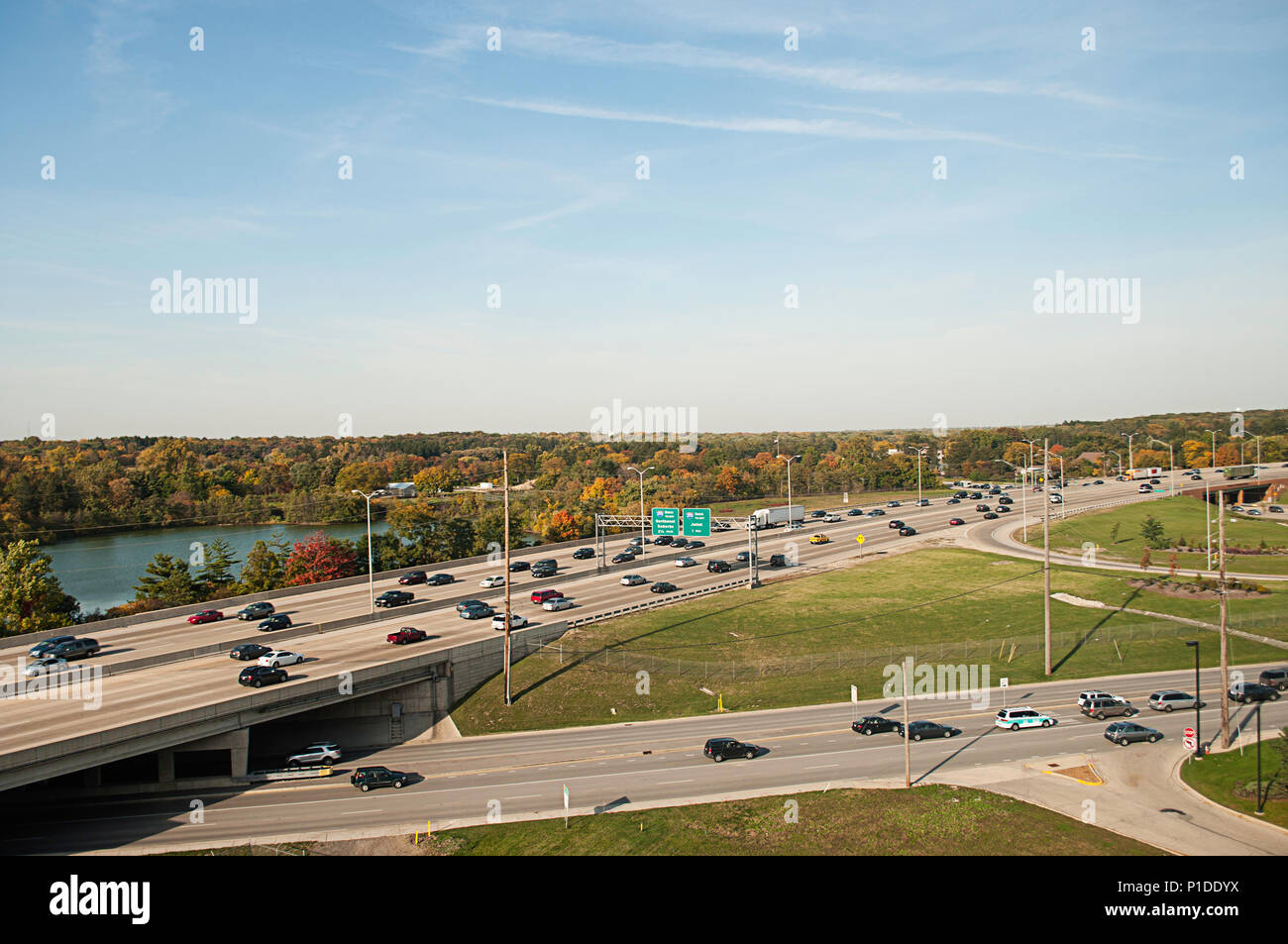 Highways and roadways in Illinois. - Stock Image